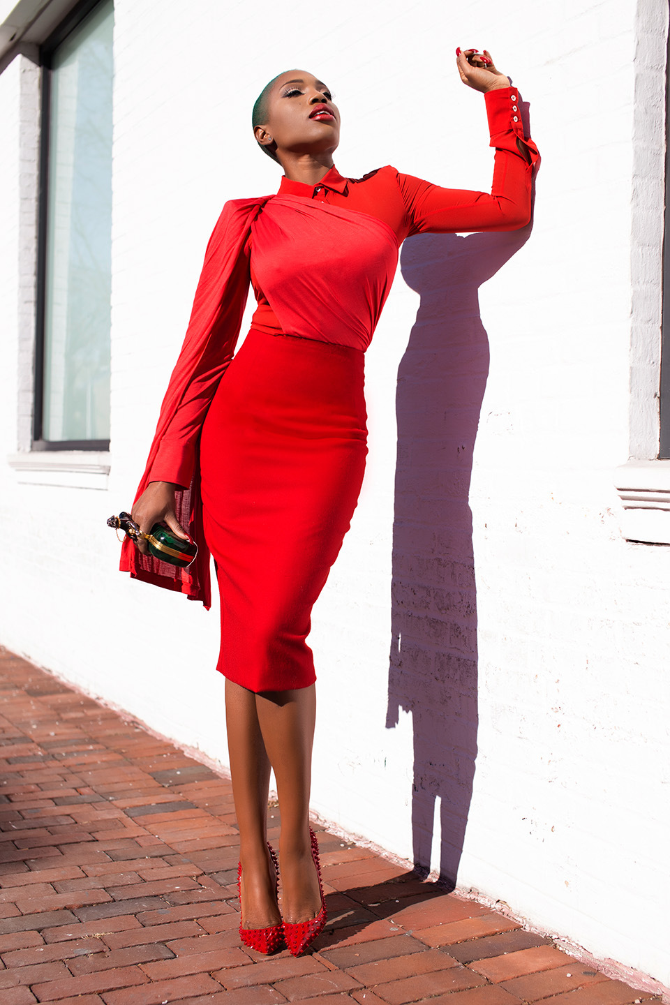red,monochrome,outfit,
