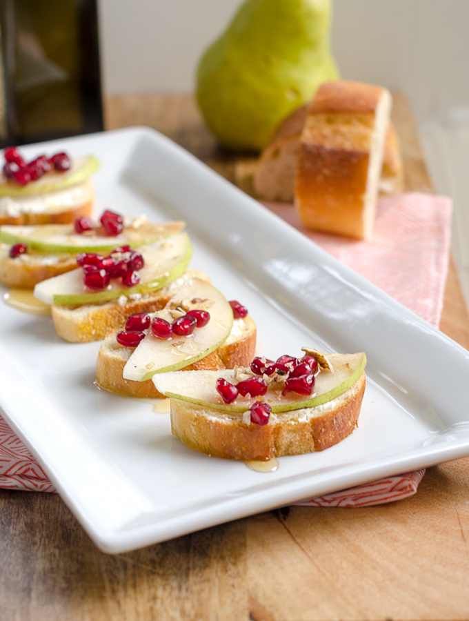 Pomegranate, Pear, and Goat Cheese Crostini
