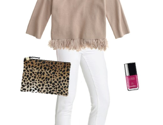 A change of seasons is in the air! This outfit will transition you from Winter to Spring. It features a chiffon fringe top, white skinny jeans and beauty products from Chanel's new Spring 2015 collection. | www.chicandsugar.com