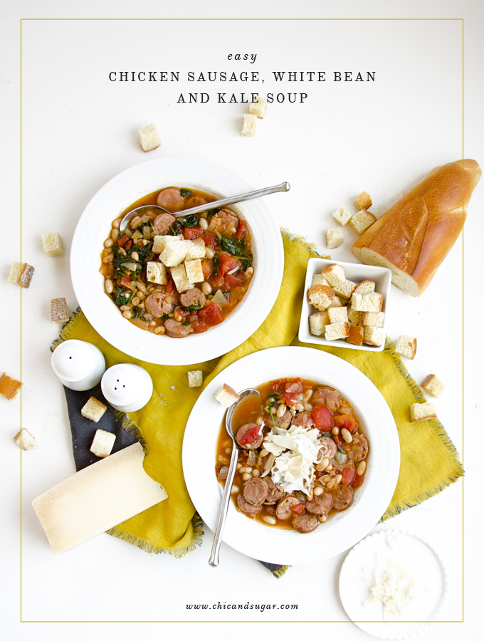 Easy weeknight dinner recipe! Healthy Chicken Sausage, White Bean and Kale Soup. You can use fully cooked chicken sausage to reduce cooking time. | www.chicandsugar.com