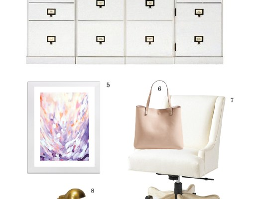 Clean and chic gold and white furniture and decor for my home office.| www.chicandsugar.com