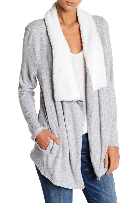 SUSINA Faux Fur Collar Open Front Cardigan