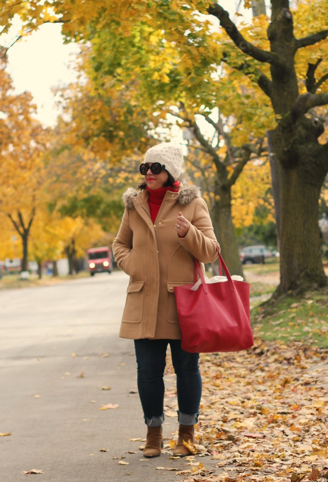 camel coat, red sweater, jcrew vail parka