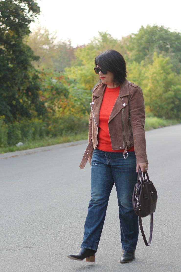 orangey red fall sweater