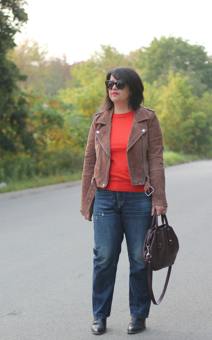 orangey red sweater fall outfit