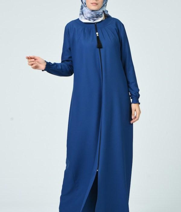Pleated Abaya - Indigo