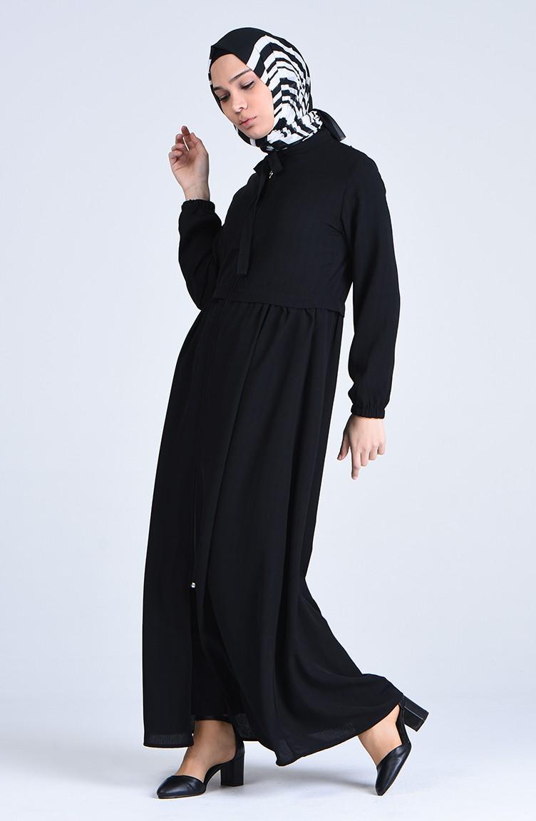 Zip and Lace Abaya - Black