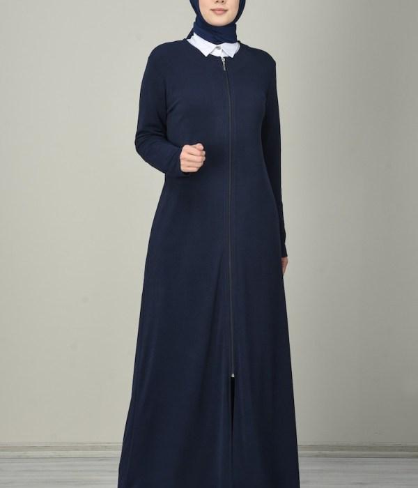 Plain Zipper Abaya - Navy Blue