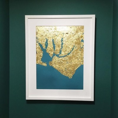 Chichester Harbour - Gold leaf and oil paint on canvas - 16 x 20 inches - by Rebecca Hopkins