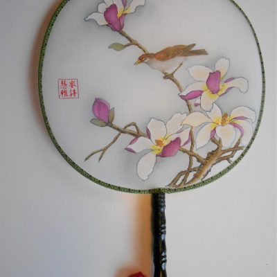 Magnolia with sparrow - Chinese watercolour and ink on sized silk - 22 cm x 20 cm (fan shape) - by Sylvia Van Strijthem