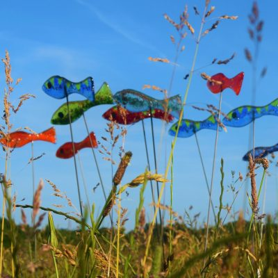 A colourful shoal of fish - Fused glass - 1 metre tall - by Karen Ongley-Snook