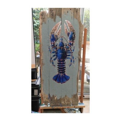 Large Blue Lobster Study 29 - Acrylic paint on reclaimed wooden boards - 47 x 120 cms - by Andrew Lean