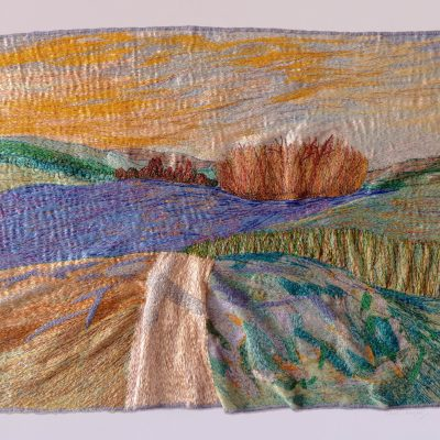 The Lake at Petworth - machine embroidery - 38cm x 45cm plus frame - by Carol Naylor