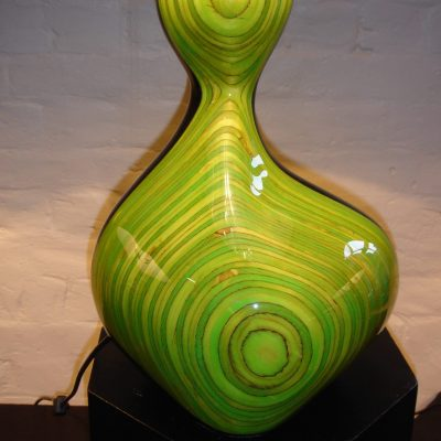 Green lamp - Lacquered wood - Medium - by Christian Wallis