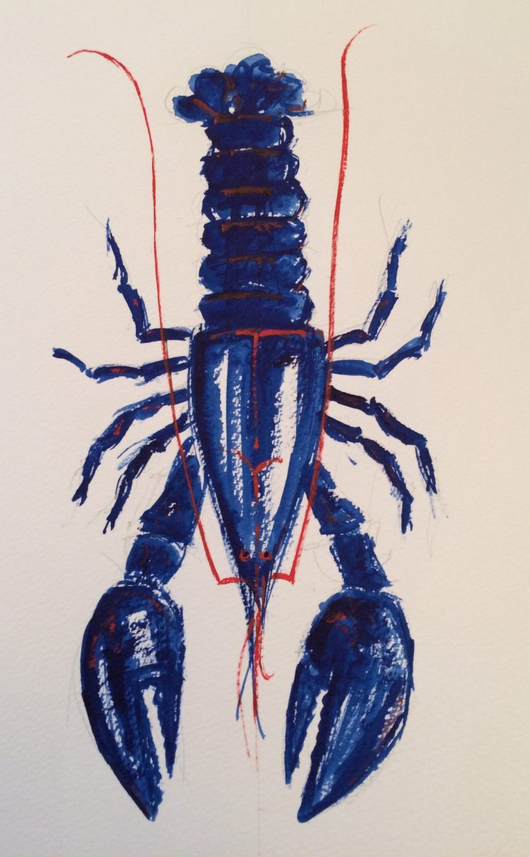 Blue lobster - Watercolour