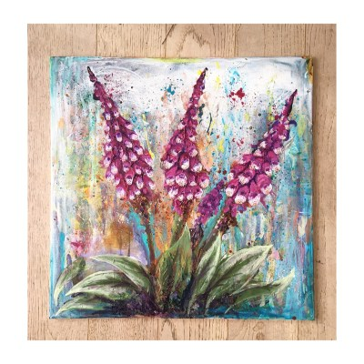 Foxgloves - Acrylic paint on canvas - 61 x 61 cms - by Andrew Lean