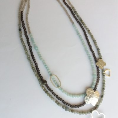 Silver necklace - silver/gemstones