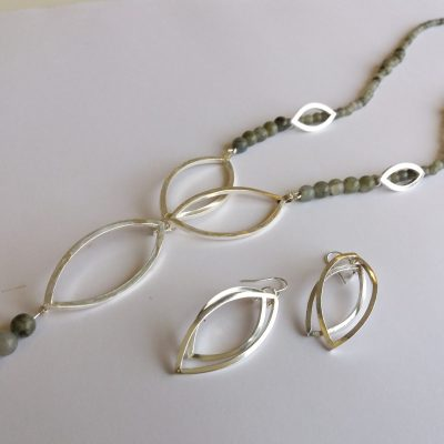 Silver necklace - silver/gemstones - 70cm - by Gael Emmett