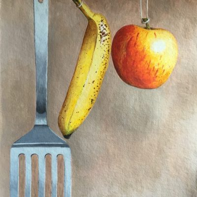 Hanging Fruit - Acrylic on handmade paper - 48 x31 cm - by Ellie Philpot