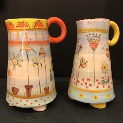 Spring Jugs - ceramic - mixed sizes - by Sarah Sykes