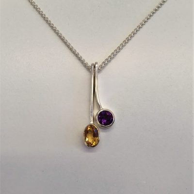 Stacking Pendant - Silver, Gold & Stones - Small - by Karen Saunders