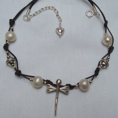 Freshwater pearls with sterling silver, on leather cord - Pearls and silver - 35cm - by Margaret Hurst