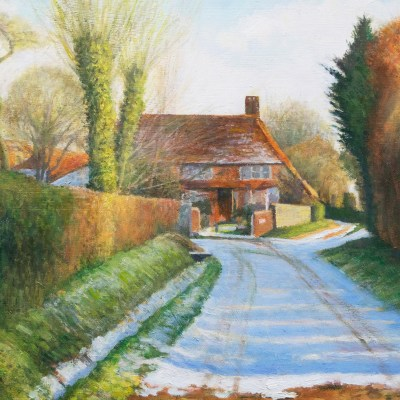 Morning Snow, Halnaker - Oil - 42 x 30 cm - by Richard Whincop