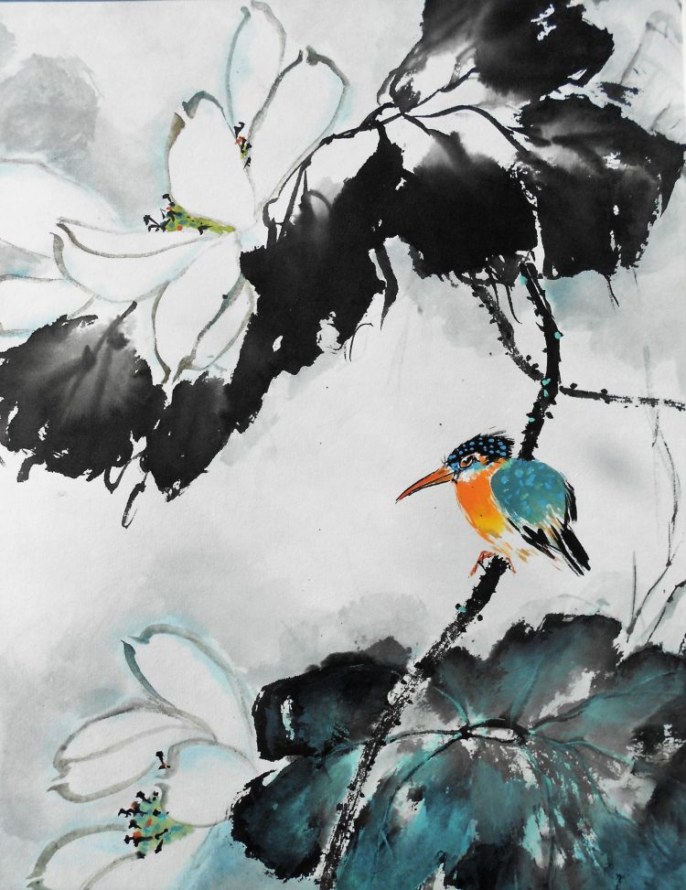 Kingfisher - Chinese watercolour and ink