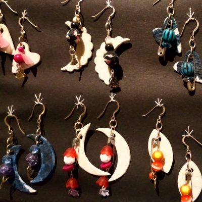 Earrings - Porcelain, mixed media beads and watch parts - Various - by Miriam (Mim) McCann