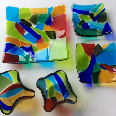 'Fractured' dishes and tealights - Glass - Various - by Kim Tattersall