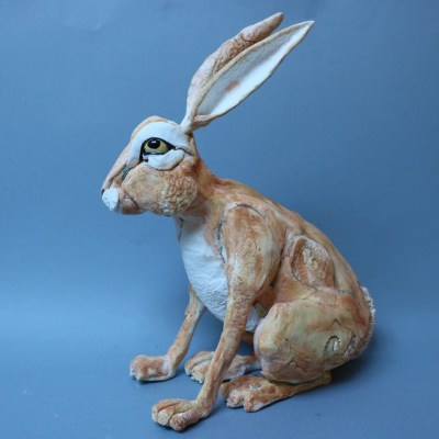 Brown Hare - Ceramic - 35cm - by Gill Hunter Nudds