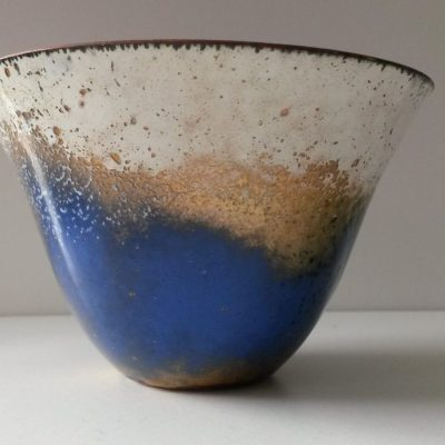 Enamel Pot - Enamel on Copper - 3 ins - by Linda Foskett