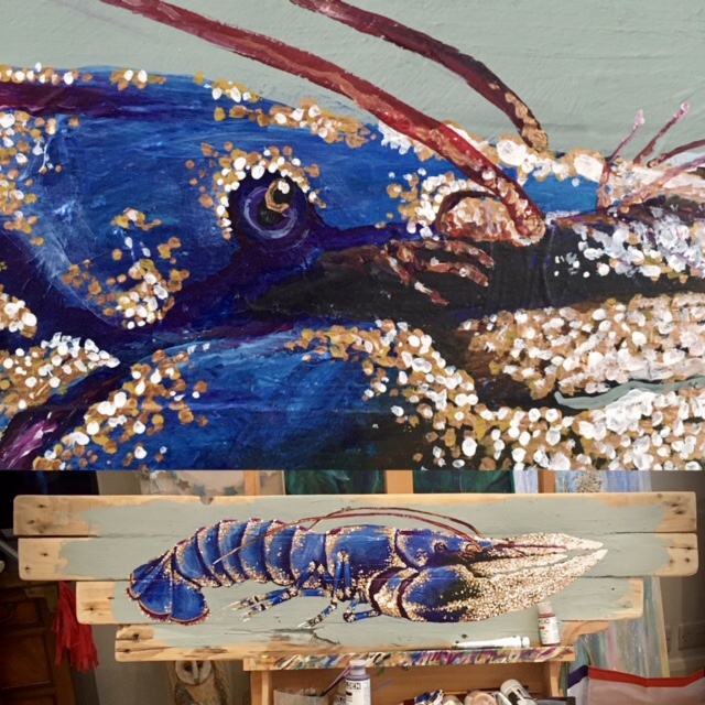 Study of Side view of blue Lobster no 1 - Acrylics paints on reclaimed wood boards