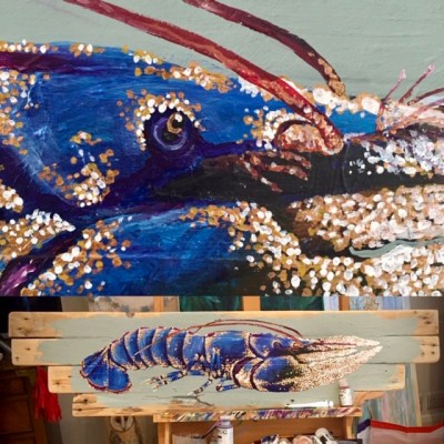 Study of Side view of blue Lobster no 1 - Acrylics paints on reclaimed wood boards - 125 by 30 cms - by Andrew Lean