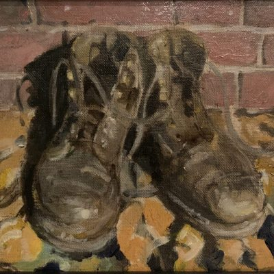 """Boots in leaves - Oil on board - 10""""x 8"""" - by Roger Parkes"""