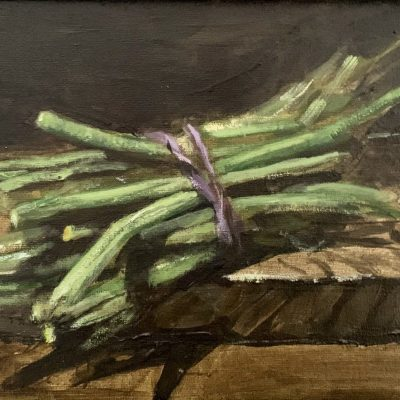 Green Beans - Oil on board - 10 x 8 - by Roger Parkes