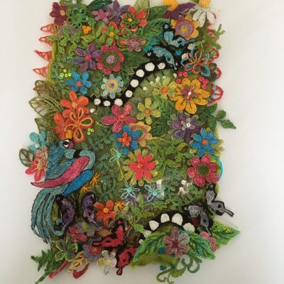 Butterfly Garden - Water Soluble Embroidery - 28x36    (unframed) - by Christine Tebbitt