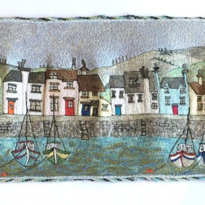 Harbour Houses - Free Machine Embroidery - 70x32     (unframed) - by Christine Tebbitt