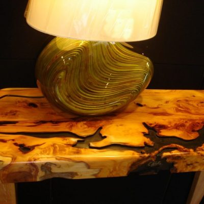 lacquered wood lamp on wood table - wood - 18
