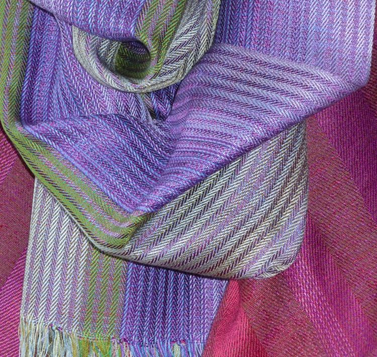 Lilac/green silk scarf - Handwoven silk