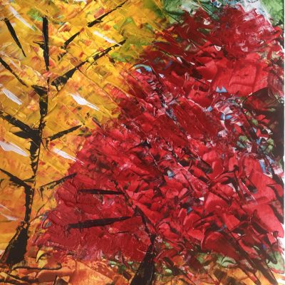 Autumn at Sheffield Park - Acrylic on canvas textured paper - A3 - by Peter Hudson