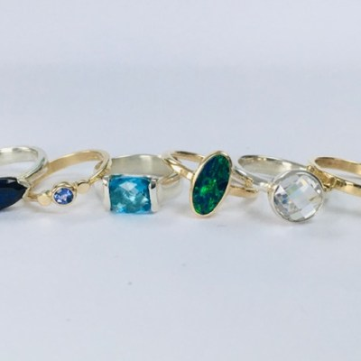 Stone set Rings - Gold, Silver, Precious Stones - small - by Karen Saunders