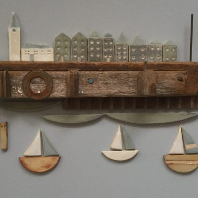 Harbour - Ceramic & found objects - 35 x 50cm - by Jan Guest