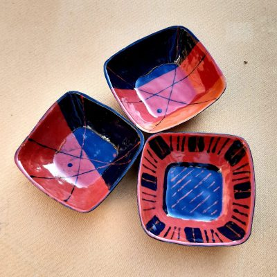 Jazzy bowls - Stoneware - 15cm square each - by Marise Rose