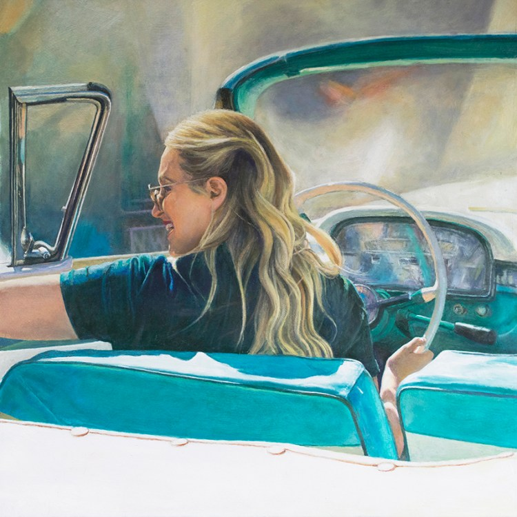 Reflections on an automobile - Oil on board