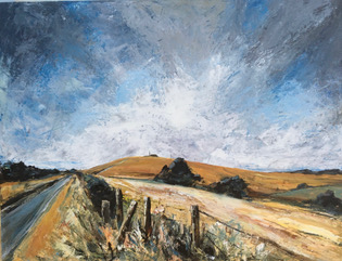Trek up the Trundle   - Acrylic on canvas - 80cm x 60 cm - by Rob Corfield