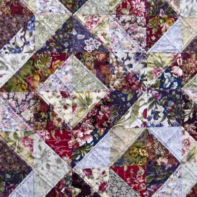 Floral squares quilt - Fabric - Section only - full quilt is 168 cm x 168 cm - by Sue Mapley