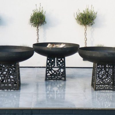 Trio of Fire Pits - Sculptural - Bowl: Height: 250mm Diameter: 910mm Thickness: 6mm Weight:42kg.  Stand: Height: 450mm Width: 360mm Thickness: 6mm Overall Height: 700mm. - by Mathew Fahy