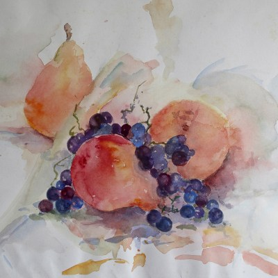 Pears and Grapes   - Oil on canvas - 14 x 11 inches - by Patricia Shears