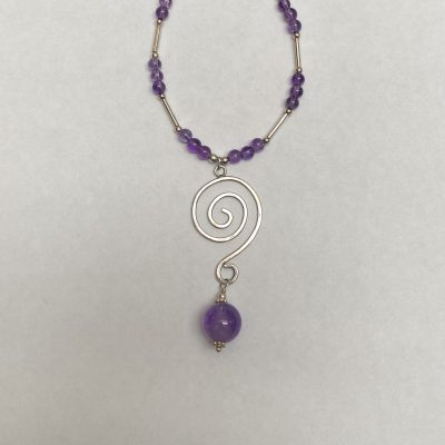 Silver swirl - Sterling silver and amethyst - Small - by Margaret Hurst